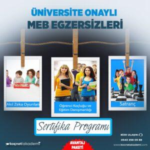 öğrenci koçluğu ve eğitim danışmanlığı, akıl zeka oyunları ve satranç eğitmenliği sertifikası